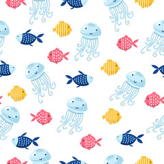 fish cartoon seamless pattern