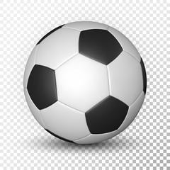 Football ball, soccer ball, mockup, on transparent background. Vector illustration