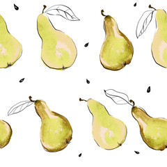 Watercolor pears seamless hand drawn pattern with seeds and leaves