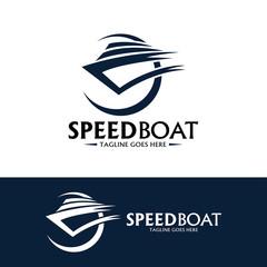 Speed boat logo design template. Vector illustration