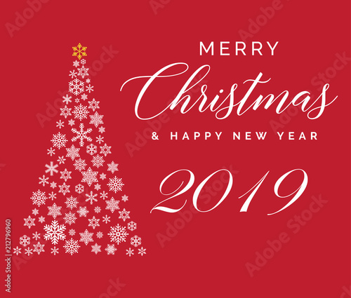 merry christmas and happy new year 2019 lettering template greeting card or invitation winter
