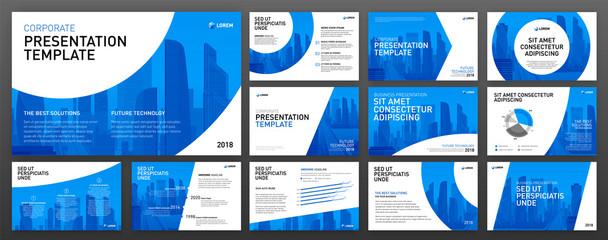Fototapeta Business powerpoint presentation design templates set. Use for keynote presentation background, brochure design, website slider, corporate report, company profile, facebook banner. obraz
