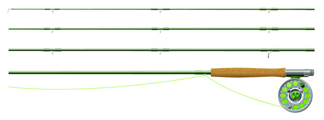 Fly fishing rod and reel, in sections Wall mural