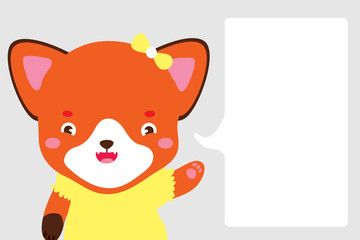 Cute fox girl in cartoon style. Fox points with her paw at dialog box where you can place your text. Use as note page in notebook in developing book dialog box banner sticker Vector isolated Hand draw