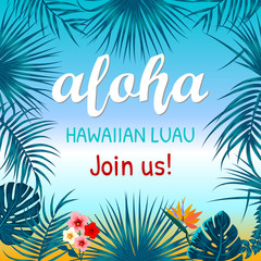 Aloha Hawaii. Creative design for poster, flyer, presentation.