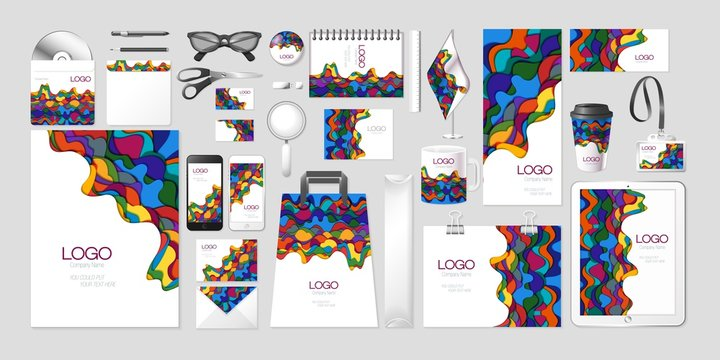 Vector set kit collection corporate identity mockup mock up abstract multilayer multicolored wave design