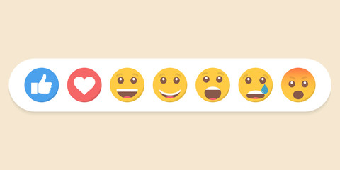 Set of emoticons and like. Vector illustration