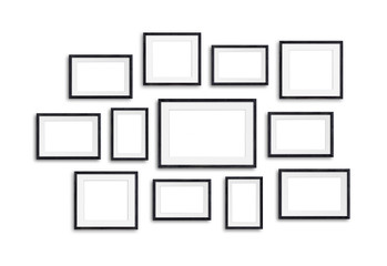 Black wooden photo frames mock up, twelve units set collage, 3d illustration