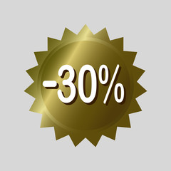 Price tag, '30% off' discount sticker. Golden vector label design on isolated background.