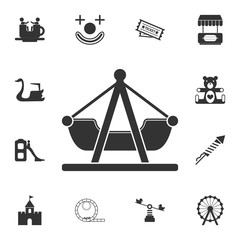 swing boat icon. Detailed set of attractions. Isolated on white background. Premium graphic design. One of the collection icons for websites, web design, mobile app