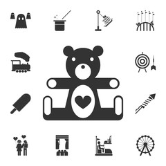 Teddy bear icon. Detailed set of attractions. Isolated on white background. Premium graphic design. One of the collection icons for websites, web design, mobile app
