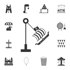 swing boat viking icon. Detailed set of attractions. Isolated on white background. Premium graphic design. One of the collection icons for websites, web design, mobile app
