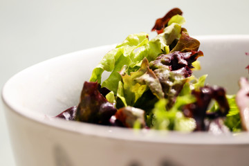 Bowl of salad leaves