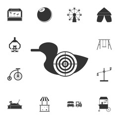 the goal of a duck shooting range icon. Detailed set of attractions. Isolated on white background. Premium graphic design. One of the collection icons for websites, web design, mobile app