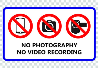 No photography and no video recording signboard