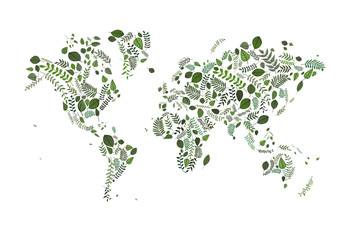 vector map of the world made of green leaves illustration. greenery ecology. earth. tanical style map. eco organic globe. worldmap