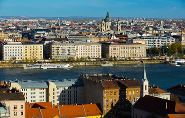 Old town Budapest with historical buildings and  Danube