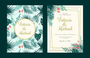 Wedding Invitation, floral invite, tropical palm leaf