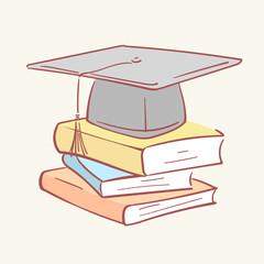 Pile stack graduation academic cap books hand drawn style vector doodle design illustrations