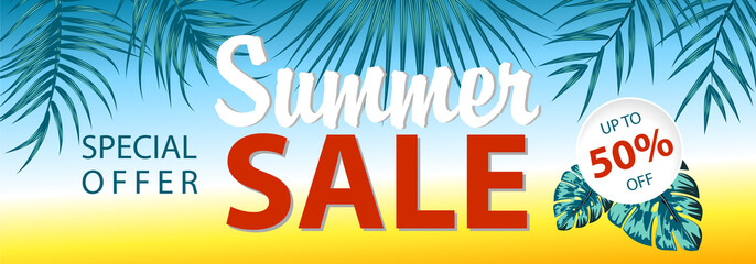 Summer sale banner with tropical leaves background, exotic floral design for banner, flyer, invitation, poster, web site or greeting card. Vector illustration.