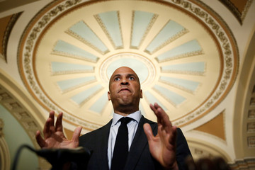 Senator Cory Booker (D-NJ) speaks after the Democratic policy lunch on Capitol Hill in Washington