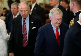 Senate Judiciary Committee Chairman Grassley and Majority Leader McConnell arrive for Kavanaugh Supreme Court announcement at White House in Washington