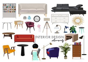 vector interior design illustration. collection set of elements. designer trendy furniture. table chair sofa lamp mirror plant chest table armchair. modern and retro. contemporary danish. mid century