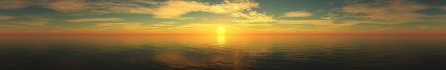 Beautiful sea view. Sea sunset. Light over the sea. 3D rendering