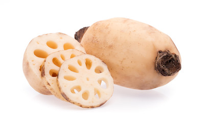 cut of Lotus root isolated on white background