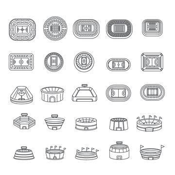 Arena stadium sport scene icons set. Outline illustration of 25 arena stadium sport scene vector icons for web