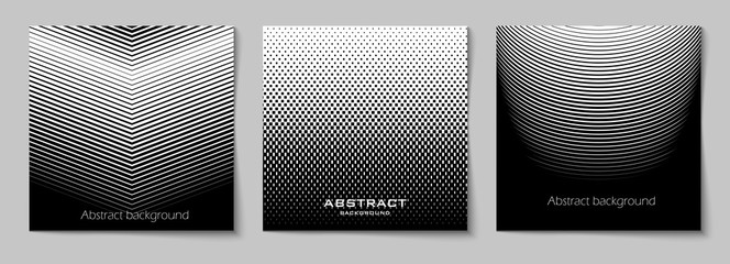 Set of square abstract backgrounds with halftone pattern in black and white colors. Design template of flyer, banner, cover, poster. Vector illustration