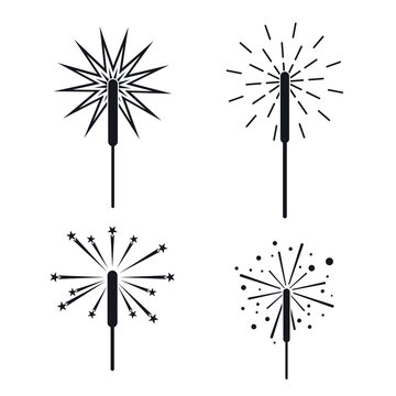 Sparkler fireworks bonfire icons set. Simple illustration of 4 sparkler fireworks bonfire vector icons for web