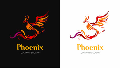 Phoenix bird illustration on black and white background