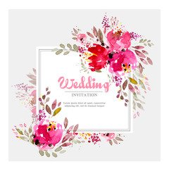 Colorful marsala wedding invitation template