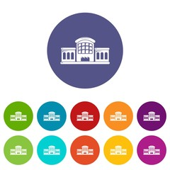 Railway station icons color set vector for any web design on white background