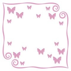 Frame pink simple curls vector illustration postcard page background with small outline of pink butterflies with shadow square isolated on white background object blank space for saying inscription