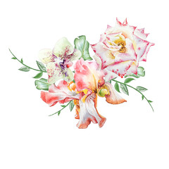 Watercolor bouquet with flowers.  Iris. Rose. Orchid. Illustration. Hand drawn.