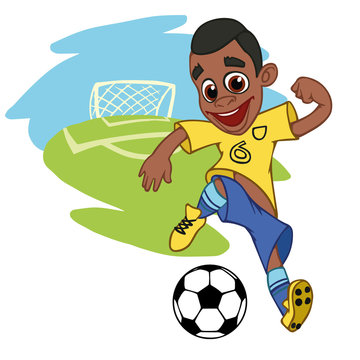 A cartoon soccer player is playing ball in a stadium in uniform Brazil. Vector illustration