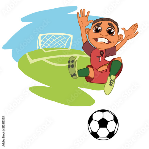 c8e017946 A cartoon soccer player is playing ball in a stadium in uniform Portugal. Vector  illustration