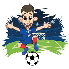A cartoon soccer player is playing ball in a stadium in uniform France. Vector illustration