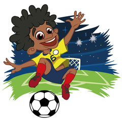 A cartoon soccer player is playing ball in a stadium in uniform Colombia. Vector illustration