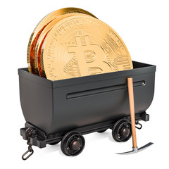 Bitcoin mining concept. Mine cart with bit coins and pickaxe, 3D rendering