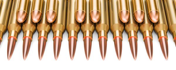 Bullets as piano keys, 3D rendering