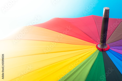 multi colored colorful umbrella with all colors of the rainbow in