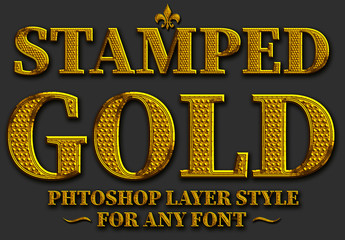 Stamped Gold Text Style