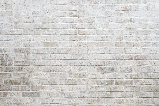 Abstract background of whitewashed brick wall