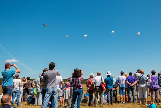 Airshow spectators watch