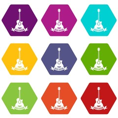 Guitar icons 9 set coloful isolated on white for web