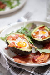 Avocado Egg Boats with bacon.