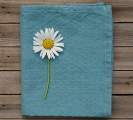 Daisy on blue napkin and wood background